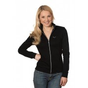 Trigema Damen Jacke mit Swarovski® Kristallen Größe: L Material: 95 % Baumwolle, Ringgarn supergekämmt, 5 % Elastan Farbe: schwarz