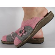 Papuci de casa gri cu roz din lana dama/dame/femei (cod ESTEL)