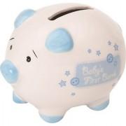 Suki Gifts International Baby's First Piggy Bank Ceramic Piggy Bank in Gift Box (Small Blue/ White)