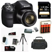Sony Cyber-shot DSC-H200/B Compact Zoom Digital Camera in Black + Sony 32GB Class 10 Secure Digital Memory Card + Sony Camera Case + 4 AA Rechargeable Batteries w/ Charger + Accessory Kit