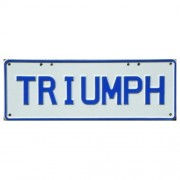"""Novelty Number Plate - Triumph - Navy Blue On White"""