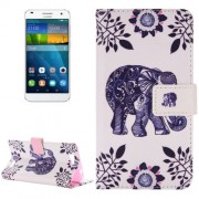 For Huawei Ascend G7 Elephant Pattern Horizontal Flip Leather Case with Holder & Card Slots & Wallet