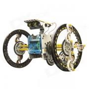 DIY Solar Energy Powered Robot Toy - White + Yellow