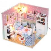 Dollhouse Miniature DIY Kit Cover Dream Love Secret Bedroom Room House PINK for Valentines gift