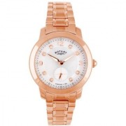 Rotary Round Dial Rose Gold Analog Watch For Women-Lb0270241