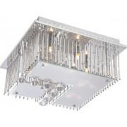 Mennyezeti lámpa króm, matt üveg, kristálytiszta diszek távirányító, színváltók, fix színek, Fragilis 68563-5 Globo Lighting