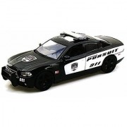 Motormax 2011 Dodge Charger Pursuit Police Cruiser 1/24 Scale Diecast Model Car Black and White