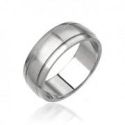 Férfi acél gyűrű - matt középső sáv