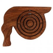 Handcrafted Round Ball in Maze Puzzle - Labyrinth Game Board Wooden - Board Games for Kids Children - 4.8 x 5.5 x 0.5 Inches