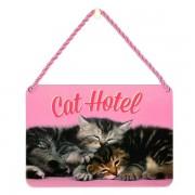 hang-ups! - tinnen bordje - cat hotel - katten