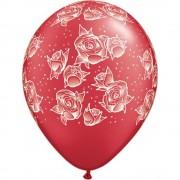 "Baloane latex 11"" sidef inscriptionate Roses Red, Qualatex 69594"