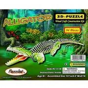 Puzzled Alligator Pre-Colored Wooden 3D Puzzle Construction Kit