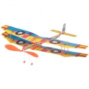 Imported Assembly Airplane Aircraft Launched Powered By Rubber Band Blue Yellow