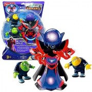 Year 2007 Planet Heroes Deluxe Series 7-12 Inch Tall Action Figure - BLACK HOLE PROFESSOR DARKNESS with Glowing Head Comet Photon and Comet Neutron Figures Plus 2 Trading Card