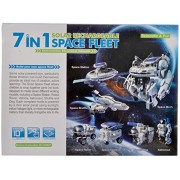 Rvold 7 in 1 Space Fleet Solar Powered DIY Building Kit Robot Space Station Solar Rechargeable Toys for Kids Multi Color