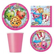 Shopkins Birthday Party Supply Set for 16: Dinner Plates Dessert Plate Napkins Cups