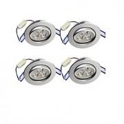 3W Lâmpada de Embutir Encaixe Embutido 3 LED de Alta Potência 300 lm Branco Quente Decorativa AC 85-265 V 4 pçs