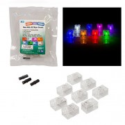 Light Up Building Bricks 2x3 - Multicolor Different Color for Each Brick - with On Off and Dim Ability Set of 8 - Tight Fit with Lego