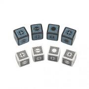 D6 Cyberfudge Dice (8) - 4D6 Black/Blue, Random Board Game by Pegasus Spiele