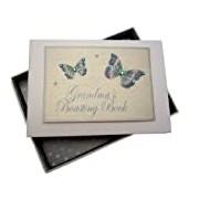 White Cotton Cards Kleines Fotoalbum Stolze Großmutter, blaue Schmetterlinge