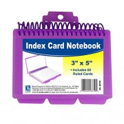 Spiral Bound Index Card Notebook, with Tabbed Dividers, 3x5, Assorted, 60/PK, Sold as 1 Each