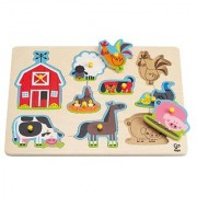 Hape - Farm Animals Wooden Peg Puzzle