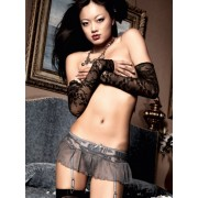 Baci Charcoal Grey Garter Tulle Mini Skirt with Flower Embroidery and Lacing 1127