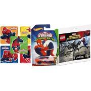 Spider-Man Hot Wheels Sinister 6 & LEGO Marvel Heroes Spider-Man vs. The Venom Symbiote minifigure comes with the Super Jumper attachment + Marvel Super Hero Stickers Super Set