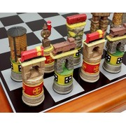 "Santa Fe Trains Steam Vs Diesel Train Engine Chess Set W/ 15 5/8"" Black & Silver Board"