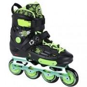 Oxer Patins Oxer Freestyle - In Line - Freestyle / Slalom - ABEC 9 - Base de Alumínio - PRETO/VERDE CLA
