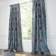 "Vorhang ""Monroe"", 1 Vorhang, 169 x 280 cm - Stein/Türkis/Blau"