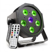 beamZ BFP110 FlatPAR 3-in1 LED spotlight 5x 6W RGB LEDs DMX IR remote control