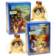 Carcassonne Expansions 1 & 2 Bundled Set _ No. 1 Inns & Cathedrals; No. 2 Traders & Builders _ Bonus 2 Gold Metallic Cloth Drawstring Storages Pouches _ Bundled Items