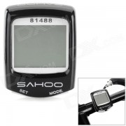 """SAHOO 81488 1.5"""" Screen Wired Water Resistant Bicycle Stopwatch / Odometer - Black + White"""