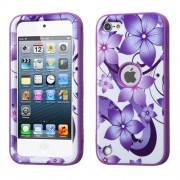 Funda Protector Triple Layer Apple Ipod Touch 5G / 6G Flores Moradas Antiderrapante