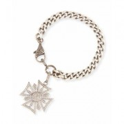 Sheryl Lowe Curb Chain Bracelet with Diamond Maltese Cross Charm