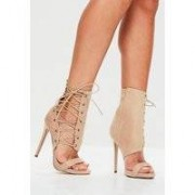 Missguided Nude Lace Up Side Heeled Sandals, Beige