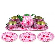 Inventis (Tm) Kids Flower Springtime Childrens Full Metal Durable Pretend Play Toy Tea Set W/ Cups, Tea Pot, Plates, Tray Kitchen Set Fun Imagination Kitty Party Picnic Return Gift Birthday Gifting