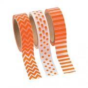 Orange Washi Tape Set - 16 Ft. Of Tape Per Roll (3 Rolls Per Unit)