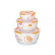 Set 3 boluri ceramice portocalii - Oursson - BS2981RC/OR