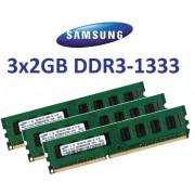 Samsung 6 GB Triple Channel Kit 3 x 2 GB, 240 pin, DDR3 - 1333 (1333mhz, PC3 - 10600, CL9), 128 M x 8 x 16 double (2 x M378B5673FH0-CH9) per schede madri DDR3 Triple Channel (i7