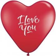 "Baloane latex inima 15"" inscriptionate I Love You Script Modern Ruby Red, Qualatex 29005"