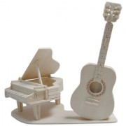 Magideal DIY 3D Wooden Jigsaw Guitar & Piano Model Construction Kit Toy Puzzle Gift