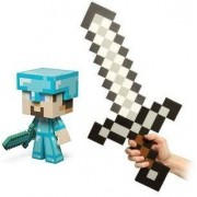"Minecraft Diamond Steve Vinyl 6"" Figure & Foam Sword Set Of 2"