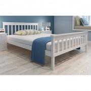 Bed van dennenhout 200 x 140 cm met traagschuim matras (wit)