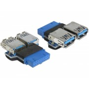 Adaptor USB 3.0 pin header M la 2 x USB 3.0 M, Delock 65324