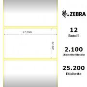 Zebra Z-Select 2000D - Etichette in carta termica protetta di colore bianco, formato 57 x 32 mm.