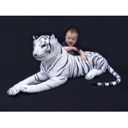 "Giant Stuffed Tiger Animal Large White Tiger Plush Large 45"" with Tail It Measures 68"" Big by Best Made Toys"