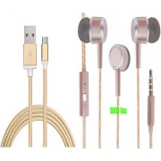 DKM Inc High Grade Golden Micro USB V8 Cable and Scented Rose Gold Earphones with Mic for Lava A51