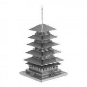 nano libre del rompecabezas 3D DIY plastico montado cinco juguete modelo de torre -plata